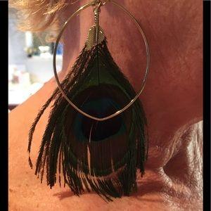 Jewelry - Peacock feather earrings